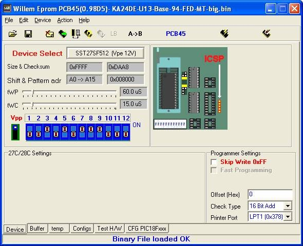 How to Program the SST 27SF512 using an Advanced Dual